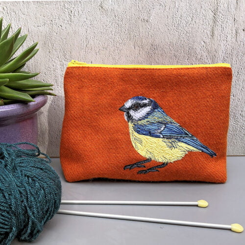 Orange Harris Tweed project bag with Embroidered blue tit by The Canny Squirrel_small