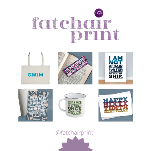Six images of Fatchair Print products - swim bag, bookmark, print, notebook, mug and card