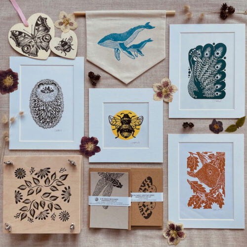 Jackdaw and Bear linocut art and gifts