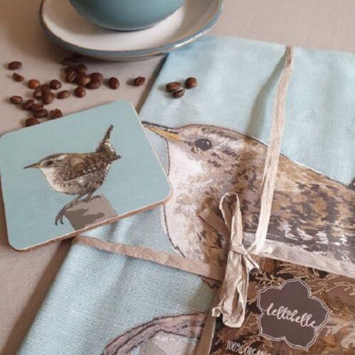 Lellibelle wren coaster and tea towel