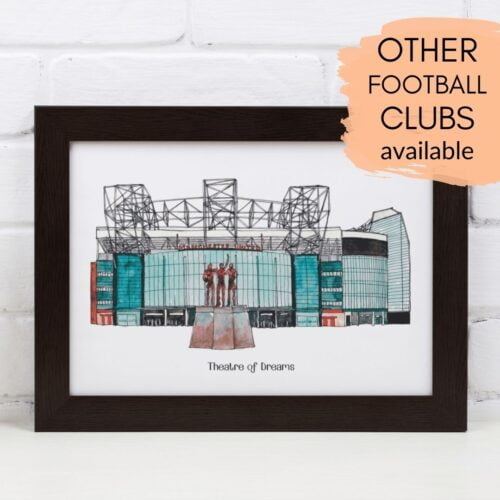 Jessica Sian Illustration, A framed, personalised print of Old Trafford, home to Manchester United Football Club. The print is in a white frame and has the words 'Theatre of Dreams' printed underneath.
