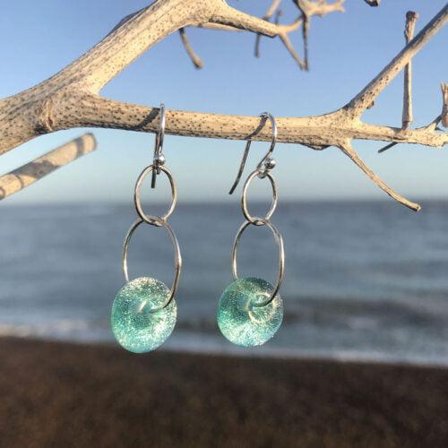Light aqua glass drop earrings