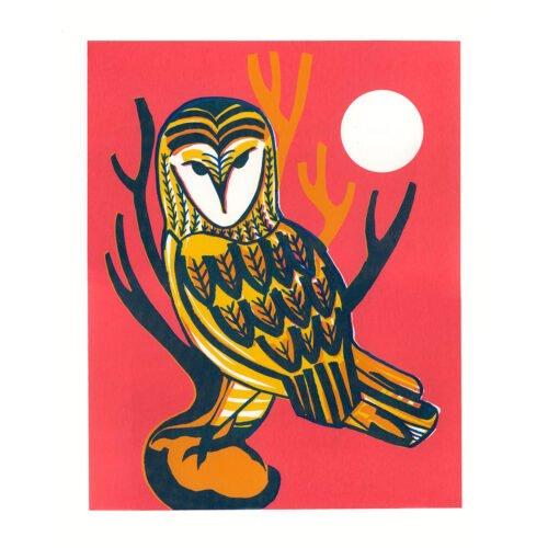 Figurative barn owl screenprint in yellow and pink