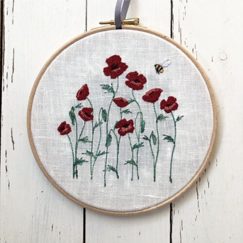 Poppy meadow embroidered by Sarah Becvar
