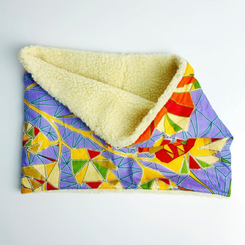 Mashona Designs Liliac African Print Snood with Faux Sherpa Fleece lining folded over