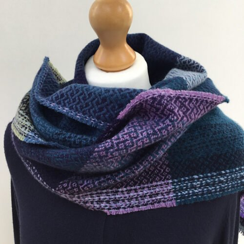 Handwoven fine lambswool scarf in purple and teal shades