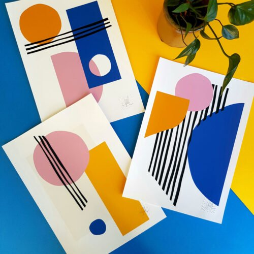 Design and Tea Lines and Circles prints, geometricsl hand-drawn shapes in bright colours and modern compositions.
