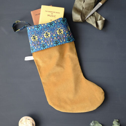 The Hawthorn Co. Gold velvet stocking with Liberty Byrne Cuff in Ocean Blue