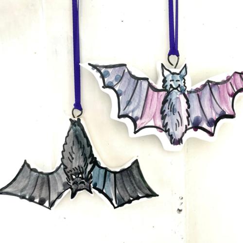 Bats hanging pottery decorations, Louise Crookenden-Johnson ceramics