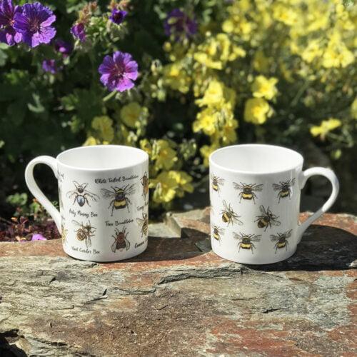 Rachel Corney Illustration, Two bone china mugs decorated with bees.