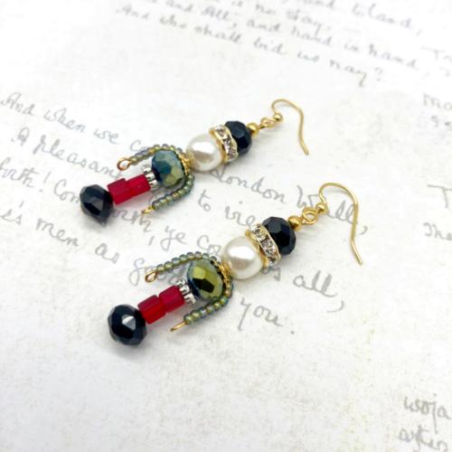 Crystal diamante Nutcracker earrings by Bowerbird Jewellery
