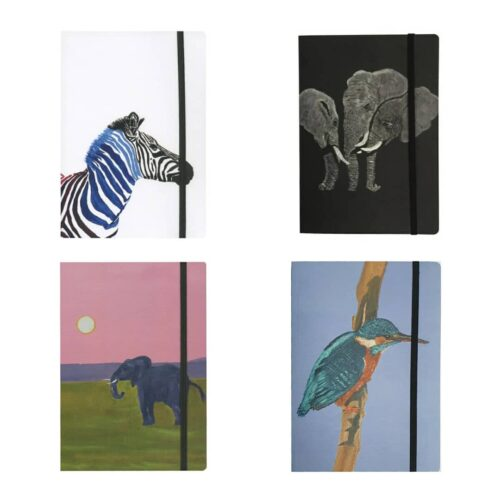 A5 Notebooks with elastic band in various animal designs