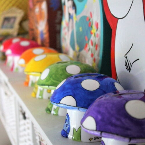 Hand painted toadstool money box by Laura Lee Designs
