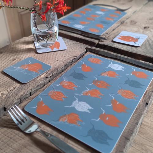 Perthshire Artisans Claire Brownbridge Highland Cow table mats