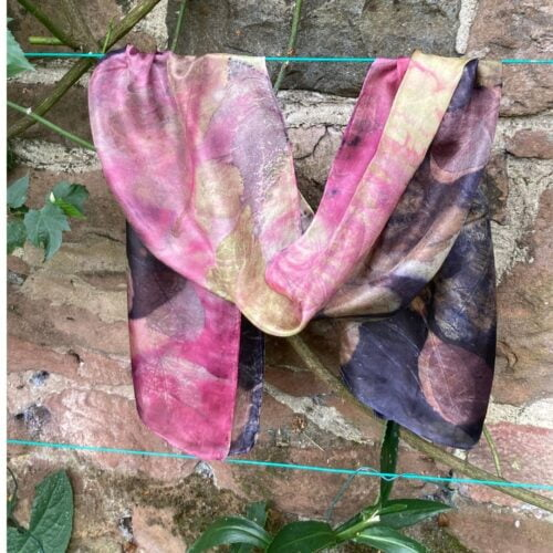 silk scarf hand dyed with three dyes and hand printed with summer leaves