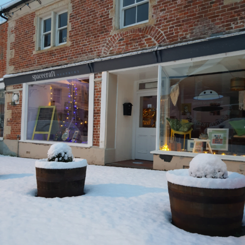Beautiful outside shot on shop in the snow