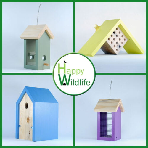 Happy Wildlife, A selection of our bird feeders, insect hotels and bird boxes