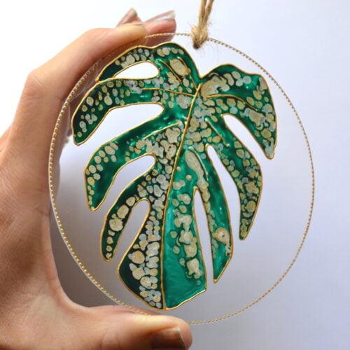Monstera leaf glass suncatcher