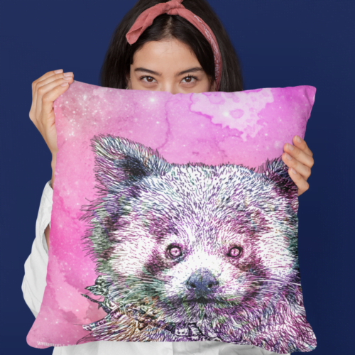 Woman with red panda cushion