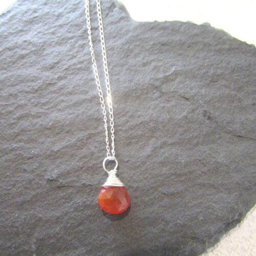 carnelian gemstone wire wrapped necklace sterling silver chain true love keepsakes