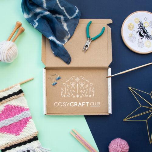 Cosy Craft Club craft subscription box with crafts around