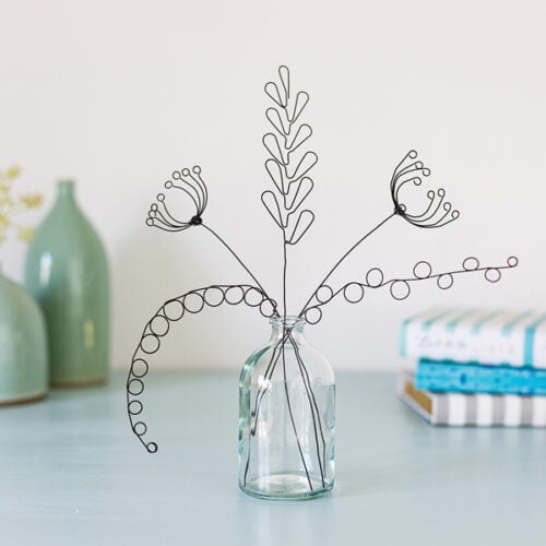Wire flower arrangement by Judith Brown Jewellery