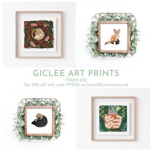4 art prints featuring a fox cub, an otter, a dormouse and a woman holding a steaming mug